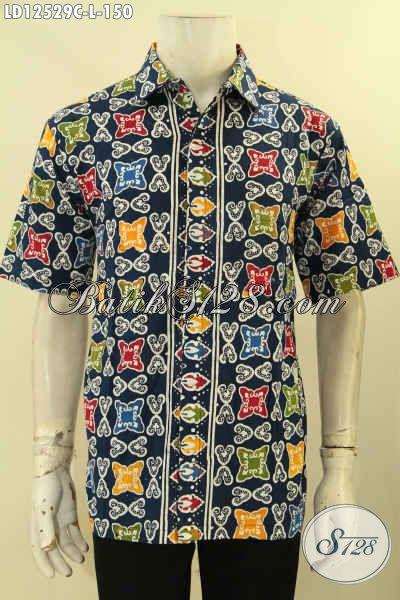 Model Baju Batik Pria Motif Keren, Busana Batik Solo Lengan Pendek Halus Jenis Cap Desain Terbaru Menunjang Penampilan Lebih Gaya [LD12529C-L]