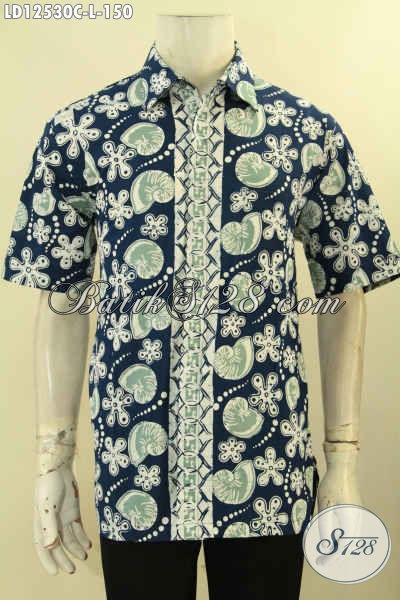 Koleksi Produk Baju Batik Pria Lengan Pendek Masa Kini Motif Unik Proses Cap, Kemeja Batik Bebahan Halus Yang Nyaman Di Pakai Haria [LD12530C-L]