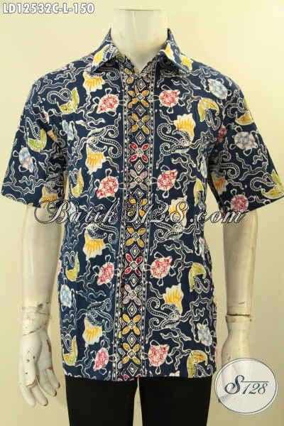 Model Baju Batik Pria Lengan Pendek Motif Trendy Jenis Cap, Kemeja Batik Gaul Cowok Kwalitas Bagus Tampil Keren Dan Stylish [LD12532C-L]