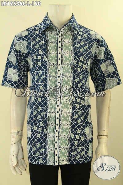 Baju Batik Pria Lengan Pendek Motif Baru Desain Kekinian Kwalitas Istimewa Dengan Harga Terjangkau, Cocok Buat Ngantor Dan Hangout [LD12536C-L]