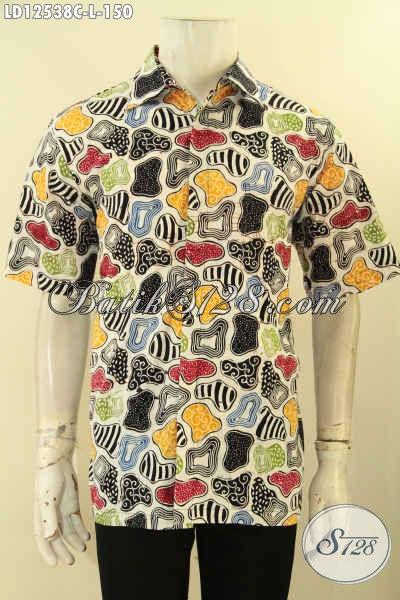 Produk Baju Batik Pria Lengan Pendek Motif Keren Dan Unik, Busana Batik Solo Trendy Bahan Halus Kwalitas Istimewa, Penampilan Lebih Keren Dan Gaya [LD12538C-L]