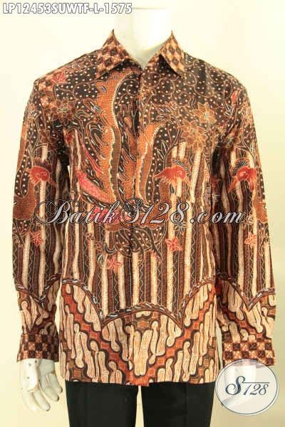 Kemeja Batik Solo Premium Sutra Tulis, Busana Batik Mahal Nan Mewah Motif Elegan Model Lengan Panjang Full Furing, Tampil Gagah Berkelas Bak Pejabat [LP12453SUWTF-L]