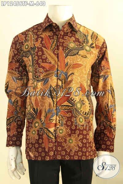 Baju Batik Premium Lengan Panjang Full Furing, Kemeja Batik Istimewa Bahan Halus Motif Elegan Untuk Kondangan Dan Rapat [LP12456TF-M]