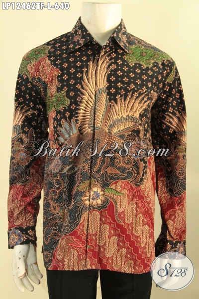 Koleksi Terkini Baju Batik Mewah Lengan Panjang Buatan Solo, Kemeja Batik Tulis Halus Motif Bagus Bahan Halus Daleman Full Furing Yang Nyaman Di Pakai [LP12462TF-L]