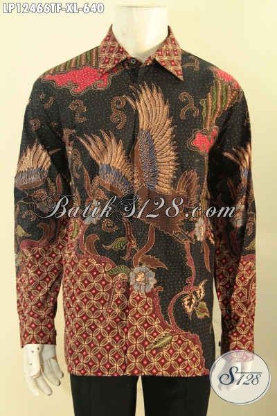 Baju Batik Kerja Lengan Panjang Jenis Tulis Pakai Furing, Kemeja Batik Mewah Khas Solo Motif Elegan Tren Terkini, Cocok Juga Buat Ke Kondangan [LP12466TF-XL]