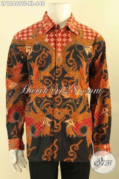 Kemeja Batik Kerja Pria Lengan Panjang Motif Elegan Proses Tulis, Busana Batik Solo Asli Kwalitas Premium Full Furing, Cocok Untuk Rapat [LP12469TF-XL]