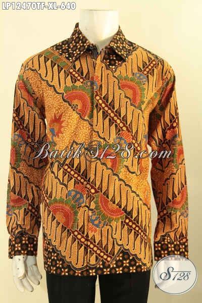Jual Kemeja Batik Online Khas Solo Model Lengan Panjang Motif Elegan Klasik Daleman Full Furing, Baju Batik Istimewa Untuk Kerja Dan Acara Formal [LP12470TF-XL]
