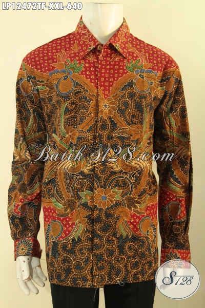 Koleksi Baju Batik Pria Mewah Lengan Panjang Full Furing, Busana Batik Halus Motif Elegan Jenis Tulis Yang Menunjang Penampilan Istimewa Dan Berwibawa [LP12472TF-XXL]