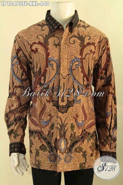 Baju Batik Tulis Jumbo Lengan Panjang Full Furing, Kemeja Batik Premium Nan Mewah Motif Terbaru Eksklusif Untuk Pria Gemuk [LP12473TF-XXL]