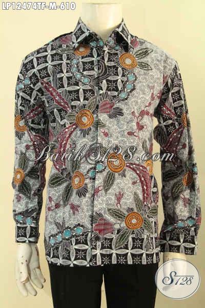 Baju Batik Solo Istimewa Lengan Panjang Motif Terbaru Nan Elegan Dan Mewah, Kemeja Batik Pria Muda Desain Berkelas Full Furing, Penampilan Lebih Mempesona [LP12474TF-M]