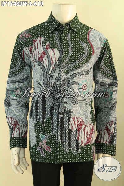 Koleksi Terkini Kemeja Batik Modern Motif Elegan Jenis Tulis, Baju Batik Solo Lengan Panjang Mewah Pakai Furing Untuk Pria Muda Maupun Dewasa [LP12480TF-L]