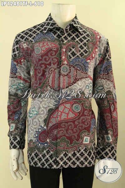 Kemeja Batik Pria Terlaris, Busana Batik Solo Lengan Panjang Mewah Full Furing Bahan Halus Nyaman Di Pakai, Kemeja Batik Tulis Premium Hanya 610K [LP12481TF-L]