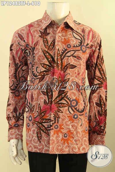 Jual Kemeja Lengan Panjang Batik Premium Masa Kini, Busana Batik Modern Motif Elegan Proses Tulis, Pakaian Batik Solo Mewah Full Furing Pilihan Terbaik Untuk Tampil Sempurna [LP12482TF-L]