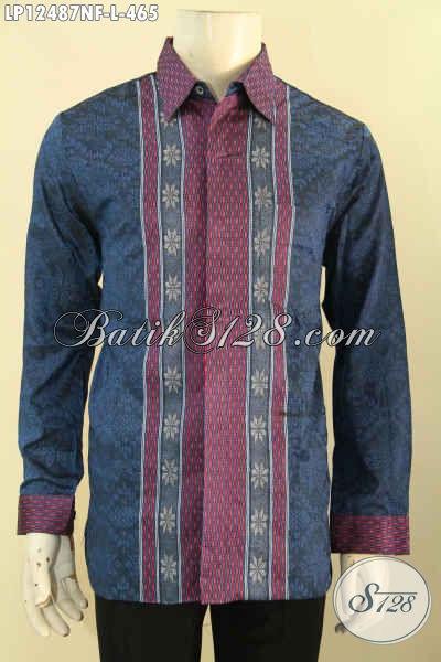 Koleksi Terbaru Baju Tenun Untuk Pria Muda Dan Dewasa, Kemeja Tenun Lengan Panjang Full Furing Yang Cocok Untuk Acara Resmi Bikin Penampilan Gagah Berwibawa [LP12487NF-L]