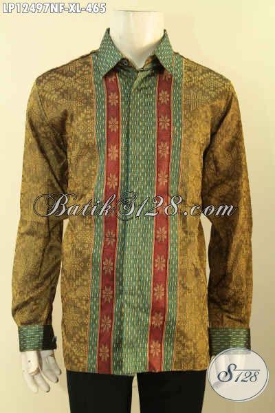Baju Tenun Mewah Model Terkini Lengan Panjang Full Furing, Busana Tenun Istimewa Motif Bagus Bahan Halus Yang Nyaman Di Pakai [LP12497NF-XL]
