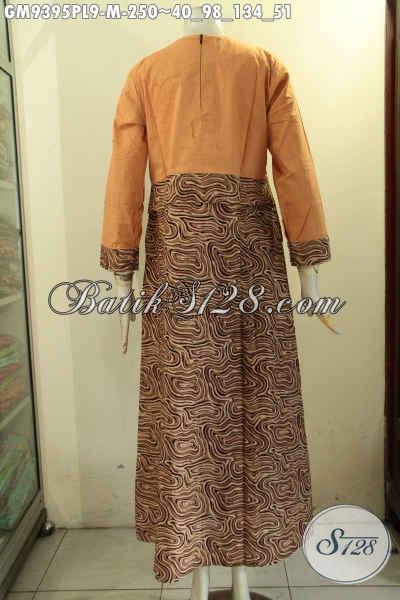 Jual Onlin Gamis Batik Modern Desain Resleting Belakang, Baju Batik Wanita Berhijab Motif Bagus Kombinasi Kain Polos Pakai Saku Dan Lengan Di Lengkapi Manset Serta Kancing [GM9395PL-M]