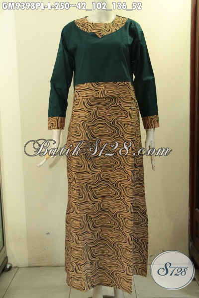 Sedia Baju Gamis Batik Kombinasi Kain Polos Warna Hijay Tren