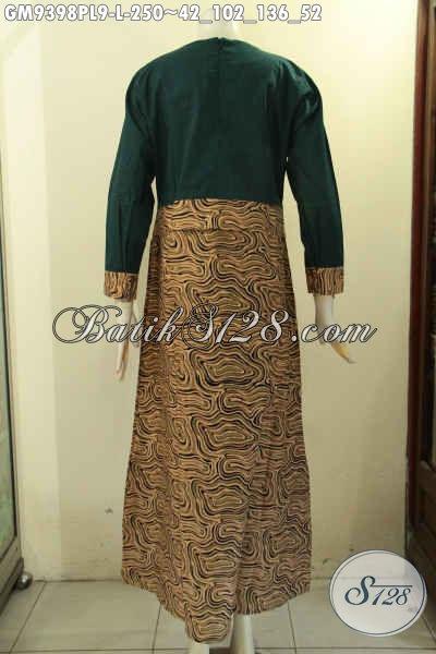 Sedia Baju Gamis Batik Kombinasi Kain Polos Warna Hijay Tren Masa Kini, Abaya Batik Modern Desain Mewah Berkelas Yang Menunjang Penampilan Lebih Cantik Dan Anggun [GM9398PL-L]