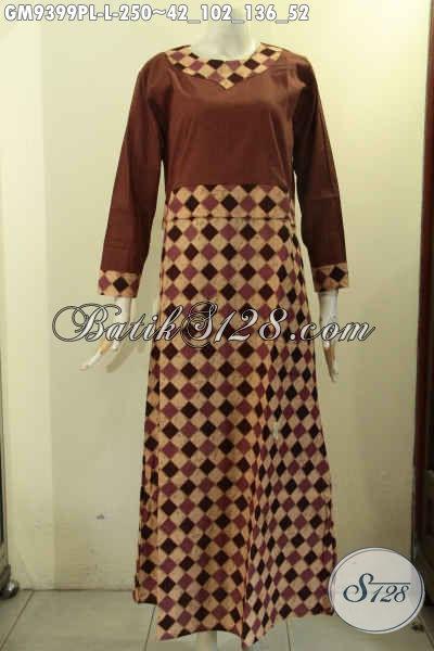 Gamis Batik Elegan Motif Bagus Kombinasi Kain Polos Nan Berkelas, Baju Batik Wanita Berhijab Model Resleting Belakang Di Lengkapi Kantong Dalan Dan Lengan Pakai Kancing [GM9399PL-L]