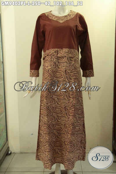Batik Gamis Khas Jawa Tengah Motif Elegan Berpadu Dengan Kain Polos, Busana Muslimah Masa Kini Yang Membuat Penampilan Terlihat Cantik Anggun Dan Syar'i [GM9402PL-L]