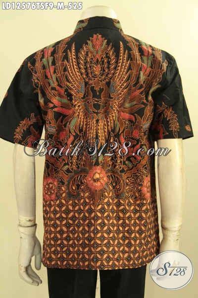 Kemeja Batik Pria Lengan Pendek Kwalitas Premium, Baju Batik Solo Istimewa Motif Bagus Bahan Halus Daleman Full Furing, Cocok Buat Ngantor Tampil Tampan Maksimal [LD12576TSF-M]