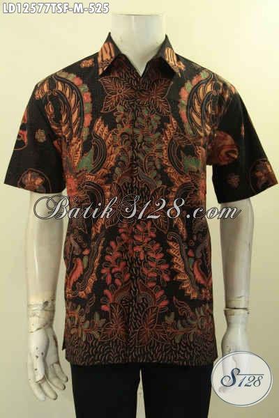 Kemeja Batik Solo Jenis Tulis Model Lengan Pendek Untuk Kawula Muda, Baju Batik Mewah Full Furing Desain Terkini, Tampil Terlihat Gagah Menawan [LD12577TSF-M]