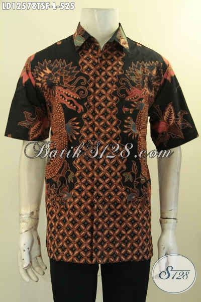 Kemeja Batik Motif Elegan Jenis Tulis Model Lengan Pendek, Baju Batik Pria Premium Motif Terbaru Daleman Pakai Furing Hanya 500 Ribuan Saja [LD12578TSF-L]