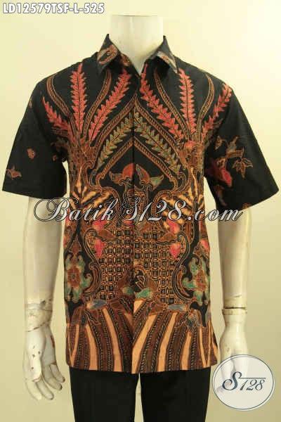Jual Kemeja Batik Kerja Terbaru Desain Keren Bahan Halus Kwalitas Premium, Baju Batik Pria Kantoran Mewah Lengan Panjang Jenis Tulis Daleman Full Furing [LD12579TSF-L]