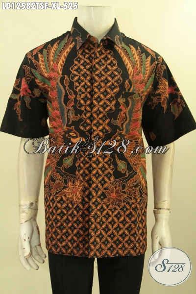 Jual Online Baju Batik Pria Terbaru Model Lengan Pendek, Kemeja Batik Tulis Premium Motif Elegan Bahan Halus Daleman Full Furing, Bisa Buat Nagntor Maupun Acara Resmi [LD12582TSF-XL]