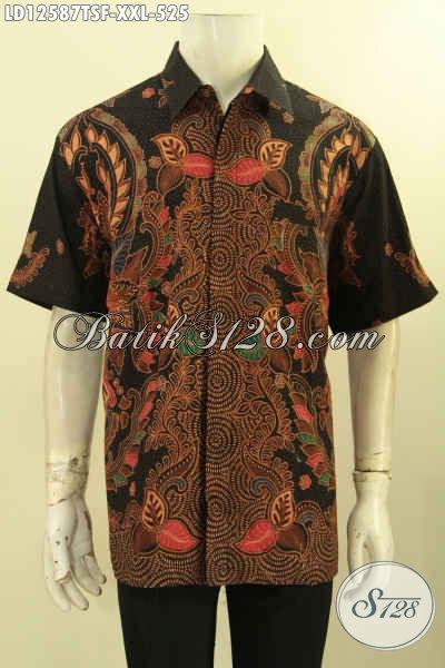 Baju Batik Pria Lengan Pendek Bagus Motif Terkini Jenis Tulis Soga, Kemeja Batik Pria Gemuk Premium Daleman Full Furing, Tampil Gagah Dan Berkelas [LD12587TSF-XXL]
