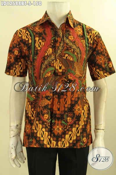 Kemeja Batik Lengan Pendek Halus Motif Elegan Proses Kombinasi Tulis, Busana Batik Kawula Muda Untuk Acara Resmi Maupun Ke Kondangan [LD12588BT-S]