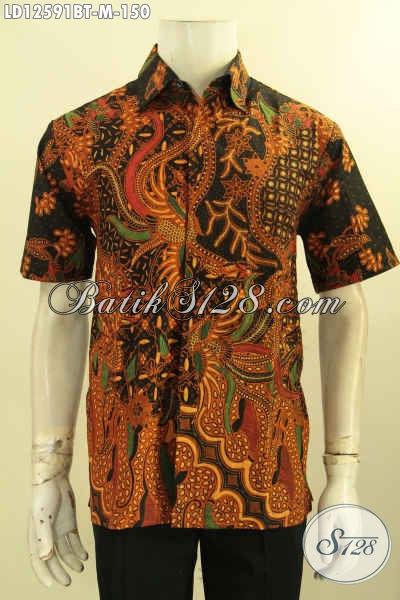 Kemeja Batik Solo Lengan Pendek Kwalitas Bagus Motif Elegan Jenis Kombinasi Tulis, Pakaian Batik Pria Muda Modis Untuk Kerja Kantoran Maupun Acara Resmi [LD12591BT-M]