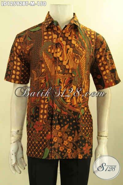 Kemeja Batik Lengan Pendek Seragam Kerja Pria Kantoran Bahan Halus Motif Elegan Jenis Kombinasi Tulis Hanya 150K [LD12592BT-M]