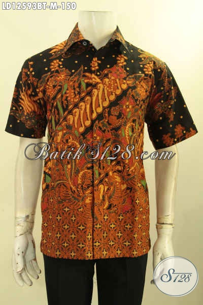 Hem Batik Pria Halus Motif Elegan Model Lengan Pendek Kwalitas Istimewa, Baju Batik Solo Kombinasi Tulis Menunjang Penampilan Gagah Dan Keren [LD12593BT-M]