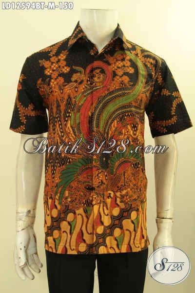 Busana Batik Kerja Pria Lengan Pendek Motif Bagus Proses Kombinasi Tulis, Kemeja Batik Keren Kwalitas Bagus Cocok Juga Buat Ke Kondangan [LD12594BT-M]