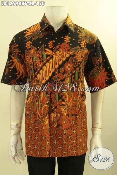 Hem Batik Pria Ukuran XL Bahan Halus Motif Elegan, Kemeja Batik Solo Kombinasi Tulis Model Lengan Pendek Menunjang Penampilan Lebih Gagah Dan Tampan [LD12598BT-XL]