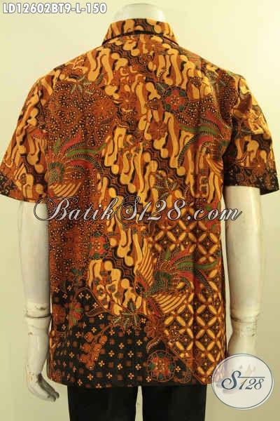 Jual Busana Batik Pria Terbaru Model Lengan Pendek, Kemeja Batik Khas Solo Motif Bagus Dan Elegan Jenis Kombinasi Tulis, Cocok Juga Untuk Kondangan [LD12602BT-L]