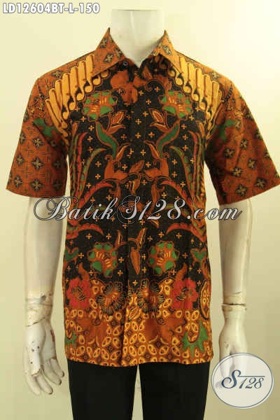 Baju Batik Kombinasi Tulis Untuk Pria Motif Terbaru Nan Elegan, Kemeja Batik Solo Asli Kwalitas Istimewa Model Lengan Pendek Dengan Harga Terjangkau [LD12604BT-L]