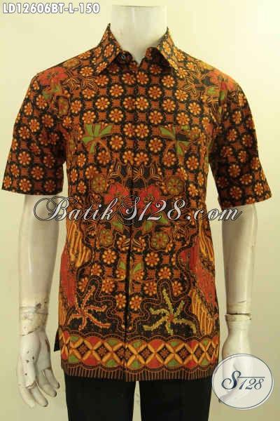 Baju Batik Pria Elegan Model Lengan Pendek, Busana Batik Halus Motif Terkini Proses Kombinasi Tulis Yang Nyaman Di Pakai, Bisa Untuk Acara Santai Maupun Resmi [LD12606BT-L]