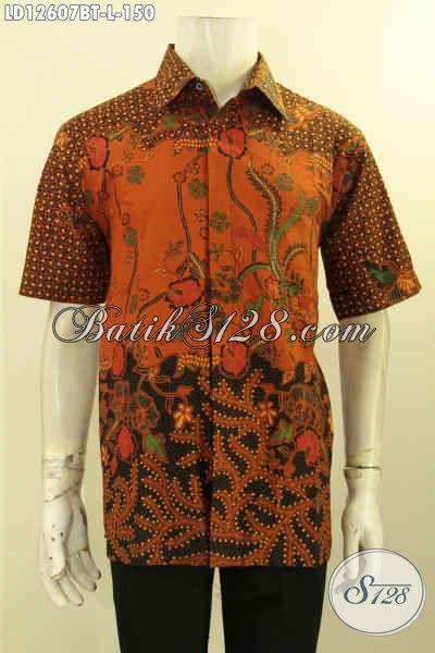 Baju Batik Kerja Pria Modern Model Lengan Pendek Halus Dan Nyaman Di Pakai, Kemeja Batik Solo Asli Motif Tren Masa Kini Kombinasi Tulis Hanya 150K [LD12607BT-L]