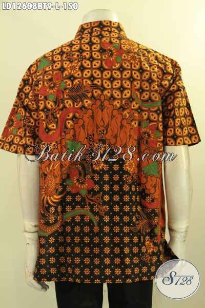Produk Pakaian Pria Model Lengan Pendek Bahan Batik Solo Kombinasi Tulis Motif Elegan, Pas Banget Untuk Acara Resmi Maupun Seragam Kerja Kantoran [LD12608BT-L]