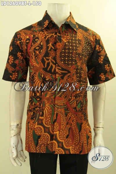 Toko Batik Online Paling Up To Date Koleksinya, Jual Kemeja Batik Solo Lengan Pendek Nan Istimewa Motif Elegan Bahan Halus Nyaman Di Pakai Kerja Muapun Acara Resmi [LD12609BT-L]