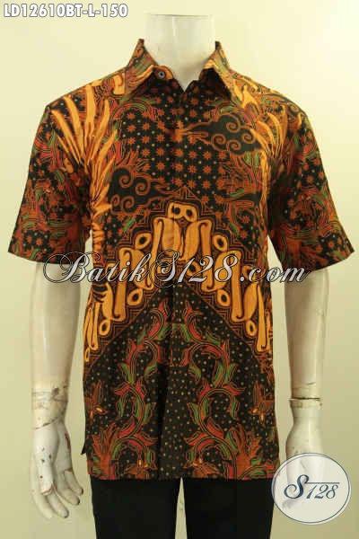 Jual Baju Batik Pria Masa Kini Desain Keren Motif Elegan, Kemeja Batik Solo Kombinasi Tulis Model Lengan Pendek, Pilihan Terbaik Untuk Seragam Kerja Dan Acara Resmi [LD12610BT-L]