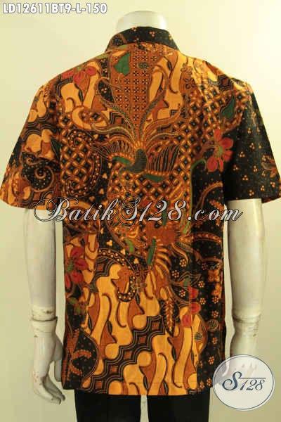 Koleksi Terbaru Baju Batik Pria Lengan Pendek Kwalitas Bagus Dengan Harga Terjangkau, Busana Batik Solo Elegan Jenis Kombinasi Tulis Yang Cocok Untuk Kondangan Maupun Ke Kondangan [LD12611BT-L]
