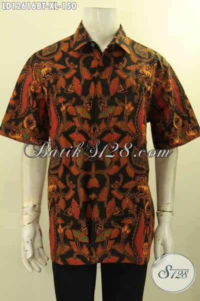 Pusat Baju Batik Online Khas Solo, Jual Kemeja Lengan Pendek Batik Kombinasi Tulis Kwalitas Bagus Motif Elegan Cocok Untuk Pria Dewasa [LD12616BT-XL]