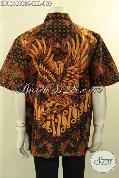 Baju Batik Pria Big Size Desain Keren Lengan Pendek Motif Terbaru Kombinasi Tulis, Kemeja Batik Buatan Solo Cocok Untuk Resmi Dan Santai [LD12620BT-XXL]
