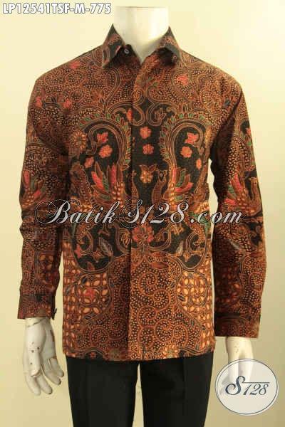 Kemeja Batik Premium Lengan Panjang Full Furing Khas Jawa Tengah, Baju Batik Istimewa Khas Pejabat Motif Mewah Jenis Tulis Soga, Pas Banget Untuk Acara Forma Tampil Berwibawa [LP12541TSF-M]