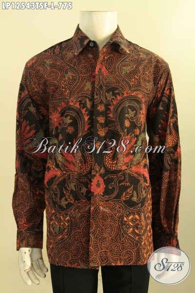 Jual Kemeja Batik Eksklusif Jenis Tulis Soga, Baju Batik Premium Model Lengan Panjang Nan Mewah Daleman Full Furing, Pilihan Terbaik Penampilan Lebih Sempurna [LP12543TSF-L]