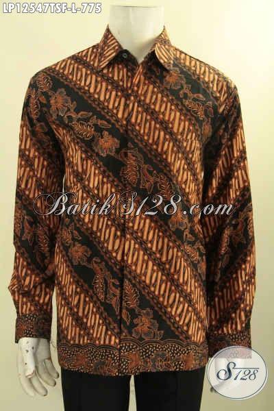 Kemeja Batik Pria Premium Lengan Panjang Motif Klasik Proses Tulis Soga, Busana Batik Mewah Khas Jawa Tengah Daleman Full Furing, Tampil Berkelas Bak Pejabat [LP12547TSF-L]