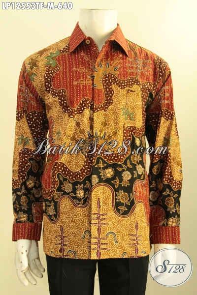 Kemeja Batik Pria Muda Lengan Panjang Jenis Tulis, Baju Batik Istimewa Motif Elegan Desain Mewah Pakai Furing, Cocok Buat Ke Kondangan [LP12553TF-M]